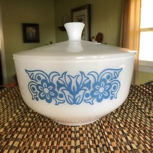 Vintage Federal Milk Glass Blue Tulip Casserole
